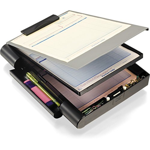 Officemate  Recycled Double Storage Clipboard/Forms Holder, Plastic, Gray/Black (83357) (Clipboard With Storage)