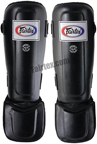 Fairtex sp3 in-stepダブルパッド入りプロテクターShinパッドforタイ式ボクシングキックボクシングMMA ブラック X-Large