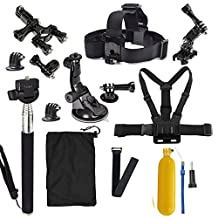 Gopro Accessories Bundle Kit 13-IN-1 For Gopro Hero 3 3+ 4 Session Camera, Handheld Monopod Gopro Carry Case Large, Gopro Chest Mount And Head Strap+Wrist Strap and Bicycle Handlebar Mount