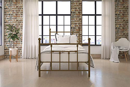 DHP Manila Metal Bed with Victorian Style Headboard and Footboard, Includes Metal Slats, Twin Size, Gold (Gold Sleigh)