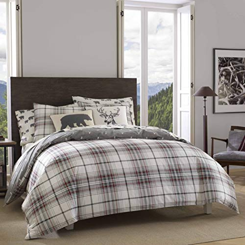 DP 3pc Grey Red White Plaid Comforter Full Queen Set, Deer P