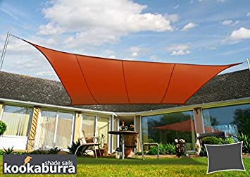 Kookaburra Waterproof Sun Sail Shade Canopy 4m x 3m Rectangle in Terracotta & Kookaburra Waterproof Sun Sail Shade Canopy 4m x 3m Rectangle in ...