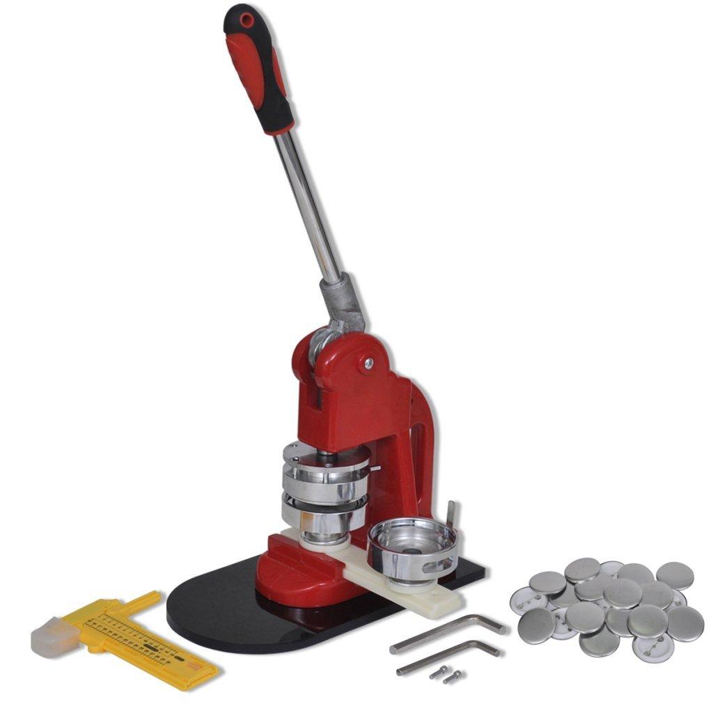 Festnight Máquina Chapas para Hacer 44mm Pins con Cuchilla Circular 500 Pins - Material de Metal y Plástico, 19x10x45 cm Festnight-