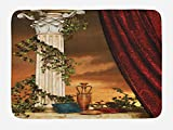 Ambesonne Gothic Bath Mat, Greek Style Scene Climber Pillow Fruits Vine and Red Curtain Ancient Figure Sunset, Plush Bathroom Decor Mat with Non Slip Backing, 29.5 W X 17.5 W Inches, Multicolor