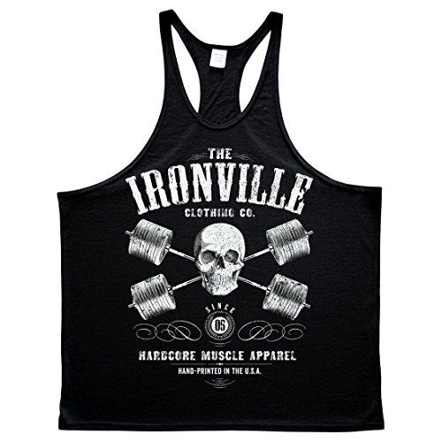 Ironville Heavy Iron Outlaw Skull Barbells Powerlifting Stringer Tank Top black L - Minimum Iron