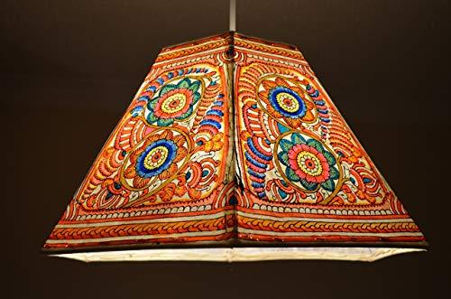 Spring Pattern Ceiling Lampshade, Multi Colour Garden Pendant Shade, Chayaa Design Pendant, Handmade Leather Night Light Shade