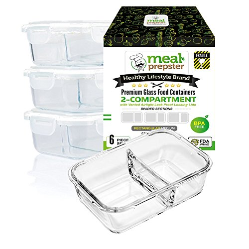 [LAUNCH SPECIAL] Meal Prep Divided Glass Containers 3-Pack Set with Vented Snap Lock Lids - BPA Leak Free (35 oz, 4.4 cups, Rectangle 2 Compartment) Oven Microwave Dishwash Freezer Safe Food (Take Out Box Template)