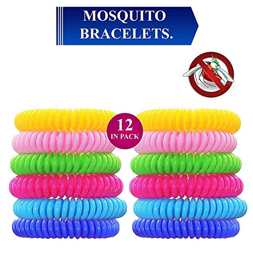 Mosquito Repellent Bracelet, 12 Pack 100% Natural Mosquito Repellent Band Safe for Kids & Adults, Waterproof Mosquito Repellent Wristband for Indoor & Outdoor Protection UP to 720Hrs
