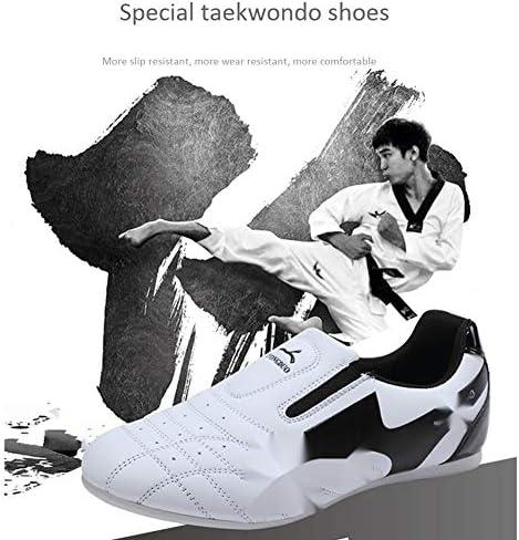 女性男性テコンドー靴スライディング空手カンフーレスリング格闘技靴大人と子供ソフトオックスフォードスニーカーwhite-38