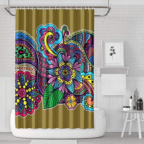 BOShout Mehndi Art Design Tattoo Shower Curtain Liner Colorful Durable for Bathroom,Printing Bath Curtains