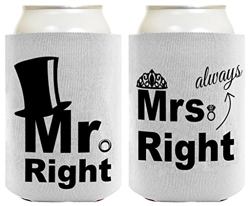 Wedding Coolie Mr Mrs Top Hat Tiara Bridal Shower Bachelorette Gag Gift 2 Pack Can Coolie Drink Coolers Coolies Premium Full Color