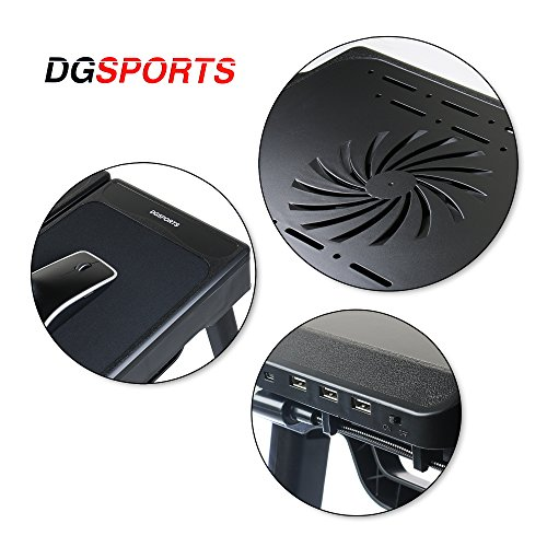 DG Sports Multi-Functional Laptop Table Stand with Internal Cooling Fan and Built-In LED Light, Black by DG SPORTS (Image #2)