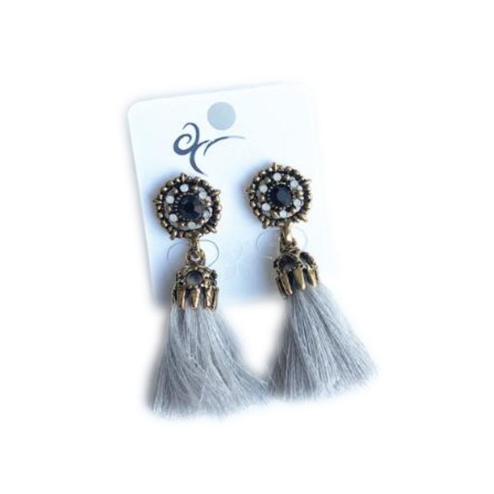 f54db4fc6 Amazon.com : Traditional Thread Tassel Earrings Suitable for Many Occasions  - Grey : Beauty