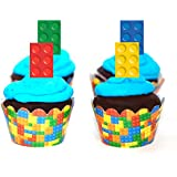 Building Blocks Cupcake Wrappers and Picks 24ct