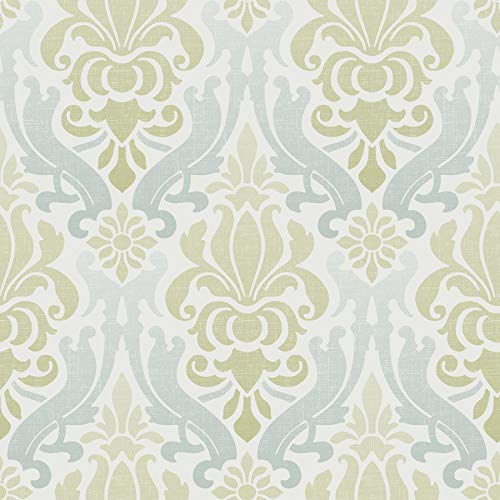 NuWallpaper NU1656 Nouveau Damask Wallpaper, Blue/Green