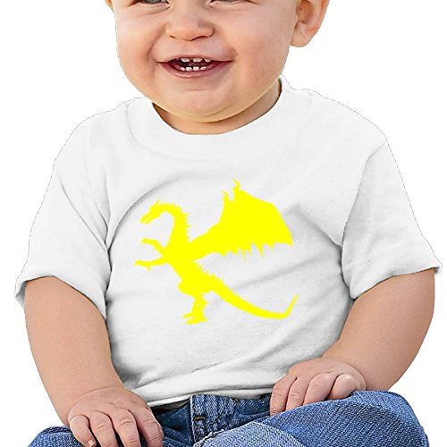 Dragon Child Short-Sleeve Round Neck Shirts Baby Undershirts T-shirt - For Boys And Girls White 24 Months