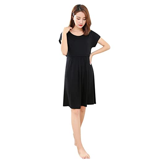 18db4051344 Sunbona Maternity Dress, Women's Solid Short Sleeve T Shirt Dress Pregnant  Nursing Dresses (L