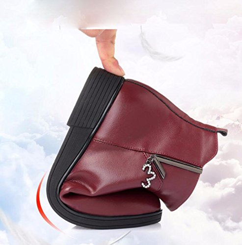 Fond Antidérapant Chaussures Boots Middle KHSKX Âgées Coton De Chaussures Aged Flat Mère Plus Hiver Femmes Bottomed 3Cm Chaussures Mou 39 Rouge Chaud Velours wwZ0g