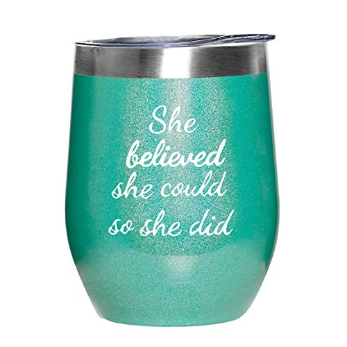 JERIO Inspirational Gifts for Women She Believed She Could So She Did Wine Tumbler with Lid and Straw 12oz Great Gifts for Congratulations Graduation, Promotion, Going -