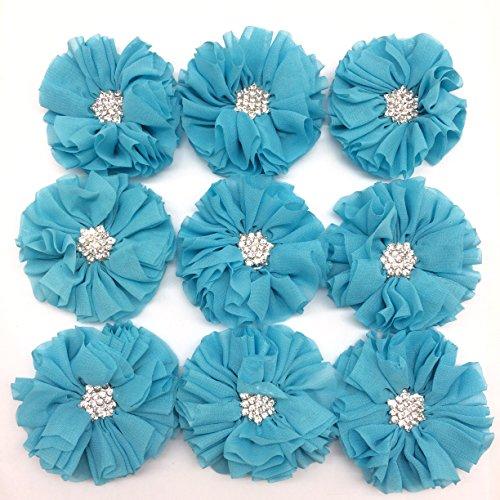 PEPPERLONELY 10PC Set Blue Rhinestone Button Center Chiffon Fabric Flowers, 6.5cm(2-9/16 Inch)
