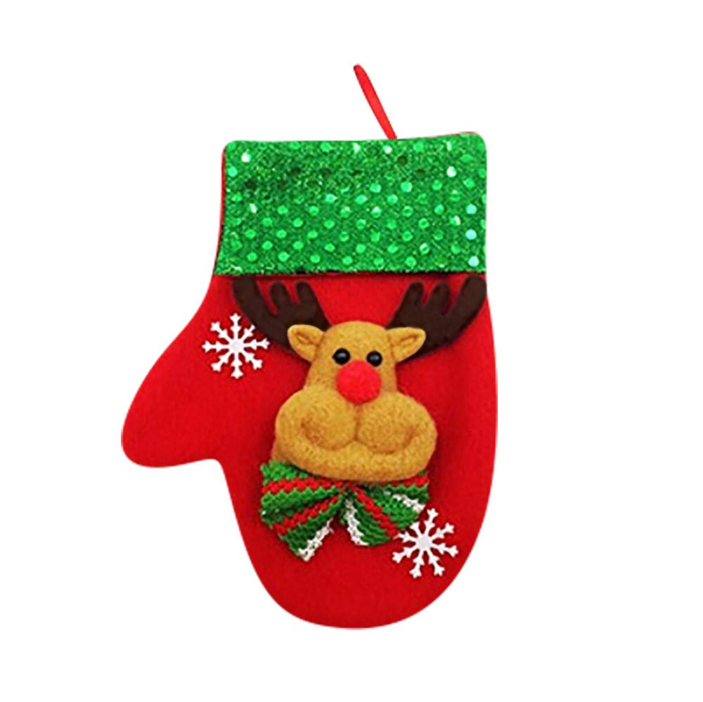 Christmas Stockings Sock Decorations Snowflake Tableware Holders Candy Pouch Bag Gift & Treat Bag (Multicolor A)