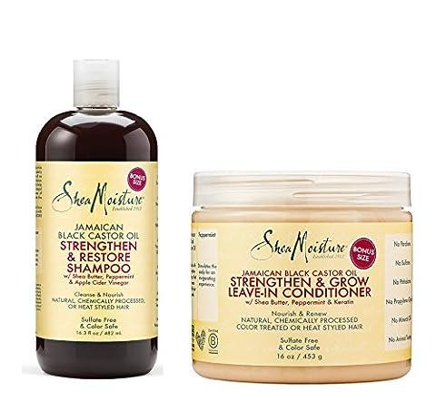Shea Moisture Jamaican Black Castor Oil Combination Pack – 16.3 oz. Strengthen, Grow & Restore Shampoo & 16 oz. Strengthen, Grow & Restore Leave-In Conditioner