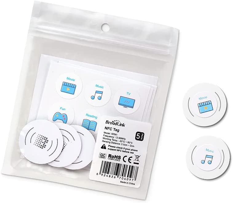 BroadLink NFC Tags, NXP NTAG215 Waterproof NFC Tag Sticker, Trigger Home Automation Devices and Scenes, Compatible with All NFC-Enabled Smart Phones, 5-Pack