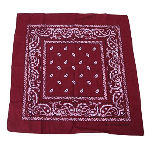 HDE 100% Cotton Double Sided Paisley Print Bandana Handkerchief Headwrap Doo (Maroon Bandana)