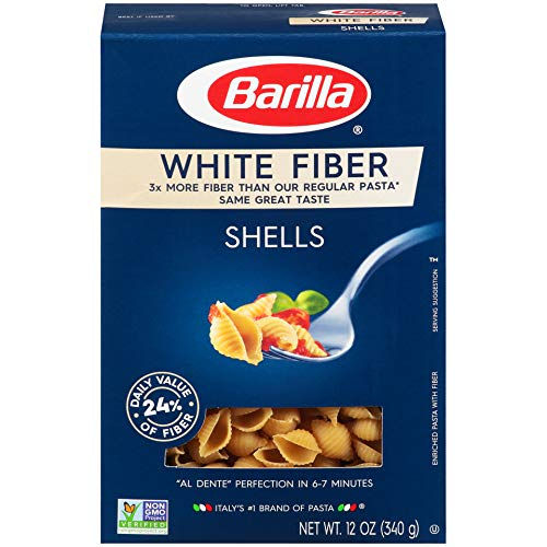 Barilla White Fiber Pasta, Shells, 12 Ounce (Pack of 12)