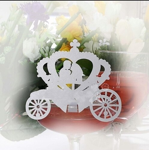 Kubert Paper wedding supplies 50 Pcs White Fairy Tale Wedding Laser Cut Enchanted Carriage Table Name Place Cards Wine Glass Party Decoration Centerpieces