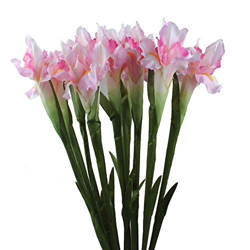 Bush Pink Flowers - AerWo 5Pcs Artificial Silk Flower Bridal Real Touch Iris Flower for Wedding Party Banquet Home Decoration Pink & White