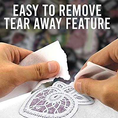 Tear Away Stabilizer for Embroidery Pack of 120 Sheets Medium Weight 1.8 oz Fits 6x6 Hoops Mesh Embroidery Stabilizer Tearaway Machine Embroidery Stabilizers JJ CARE 8 x 8