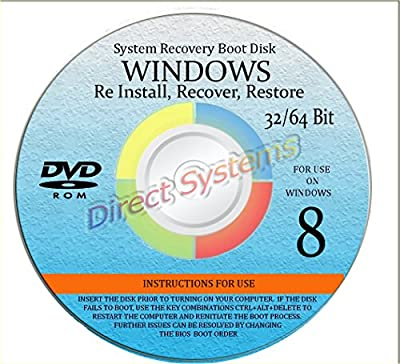 NEW WINDOWS 8 ANY & ALL Versions of 32 Bit and 64 Bit Home Basic, Home Premium, Professional, or Ultimate, Repair, Recovery, Restore, Re Install, Reinstall, Re-install & Reboot Fix Boot Disk DVD