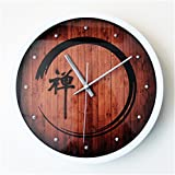 RFVBNM Meditation Yoga individuality Creative mute clock living room bedroom study kitchen office wall clock Perfect for housewarming Gift birthday present,A/3030cm