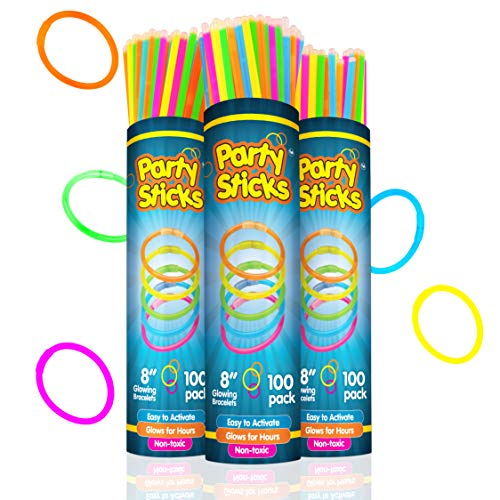 "PartySticks Glow Sticks Jewelry Bulk Party Favors 300pk and Connectors - 8"" Glow in The Dark Party Supplies, Neon Party Glow Necklaces and Glow Bracelets for Kids and Adults"