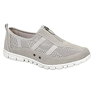 Boulevard Womens Extra Wide FIT EEE Casual Leather Lined Shoes Trainers Size 4-9 Grey 6