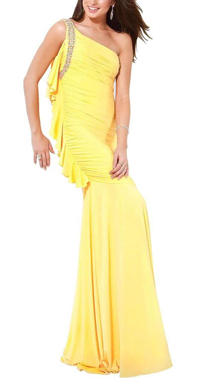 GEORGE BRIDE Exquisite Yellow Slim-Line One-Shoulder Beading long Prom Dress