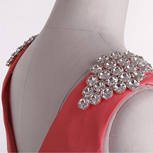 Fashion Plaza Robes de mariée longueur au genou double D0323 (EU42, Couleur Corail)