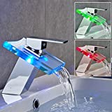 EchoAcc® Romantic RGB Glass Waterfall Faucet with LED Light Basin Sink Tap in Bathroom Kitchen