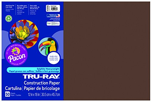 Pacon Tru-Ray Construction Paper, 12-Inches by 18-Inches, 50-Count, Dark Brown (103056)