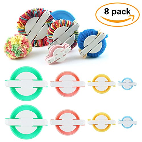 8 Pack Pompom maker, KOMIWOO 4 Sizes Pom Pom Maker Set for Fluff Ball Waver Needle Craft DIY Wool Yarn Crochet Knitting Craft Tool Kit (Small Pom Pom Maker)