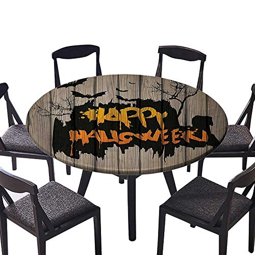 Picnic Circle Table Cloths Happy Halloween Graffiti Style Lettering on Rustic Wooden Fence Scary Evil Effect Art for Family Dinners or Gatherings 63