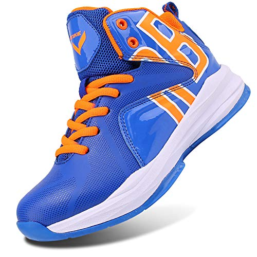 WETIKE Fashion Basketball Shoes High Top Boys Girls Sneakers Cofortable Running Shoes Non Slip Sport Shoes (Little Kid/Big Kid) Lucky Blue,5M US Big Child