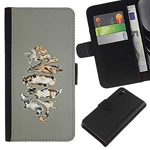 KingStore / Leather Etui en cuir / Sony Xperia Z3 D6603 / Animales Granja Naturaleza Dibujo Vaca;