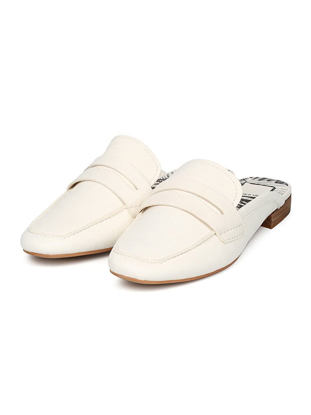 3bf94e6865b Amazon.com  Dolce Vita Cybil Square Moc Toe Loafer Mule Slide HC56 - Off  White Leather (Size  6.5)  Shoes
