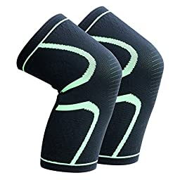 Knee Sleeves Compression Knee Support Wrap Men Women Knees Brace for Arthritis Relief Joint Pain Squats Running Basketball Soccer Volleyball, 1 Pair (L)