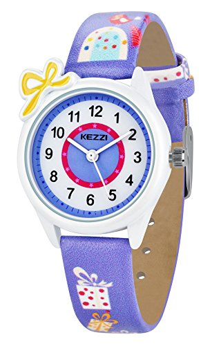 Dovoda Watch for Girls Easy Reader Time Teacher Leather Kids Watches