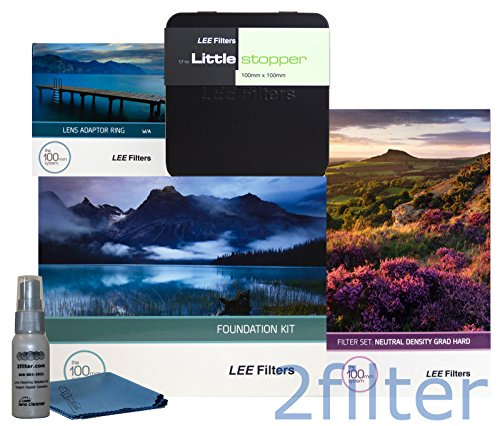 Lee Filters 82mm Oceanscape Starter Kit 2 - FK Holder, 82mm Wide Angle Adapter Ring, 4x6 Graduated ND Hard Edge Set and 4x4 Little Stopper with 2filter cleaning kit (Lee Filters Kit 82mm)