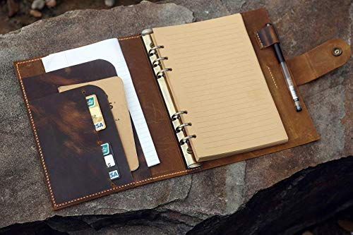 Personalized A5 leather binder notebook / A5 leather organizer Planner/travel refillable notebook - NBA505C ()