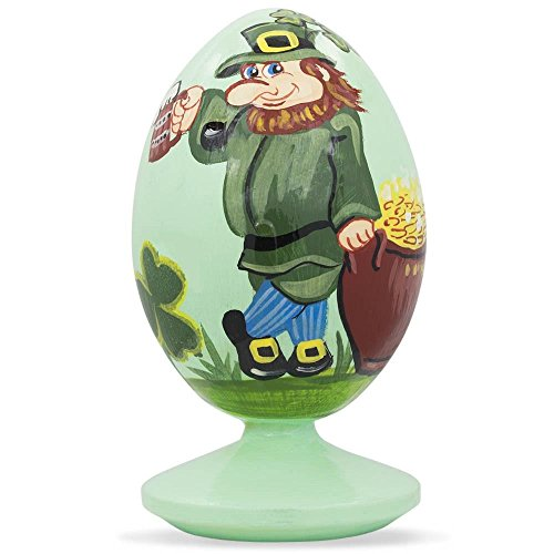 BestPysanky Irish Leprechaun & Pot of Gold on St Patrick's Day Wooden Figurine